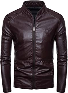 wuliLINL Mens Pure Leather Jacket | Retro Solid Motorcycle Jackets & Coat