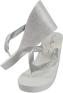 White & Silver Glitter Flip Flops - Choose Custom Wedding Colors for the Bride & Bridesmaids