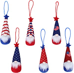 ElekFX 4th of July Gnome Independence Day Hanging Ornaments Set of 6, Patriotic Gnomes Decorations Handmade Plush Veterana Day Gift Elf Home Wall Decor (B)