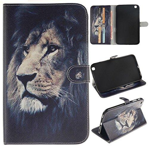 Skytar - Funda para tablet Samsung Tab3(SM-T310, T311, T315) de 8pulgadas (20,32 cm), funda de piel con función de atril  *Brave lion Tab 3 8.0(T310/T311/T315)
