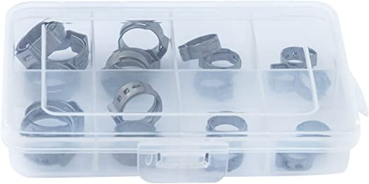 Pack of 250 Clamp ID Range 6.5 mm One Ear - 7.5 mm Open Closed Oetiker 15300007 StepLess Ear Clamp