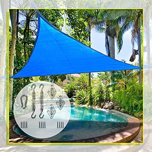 Toldo Vela De Sombra, con Kit De Fijación Fácil De Colgar Triángulo De Jardín Impermeable UV Sol Pantalla Protectora Refugio Toldo Gazebo Toldo (Color : Blue, Size : 6x6x6m)