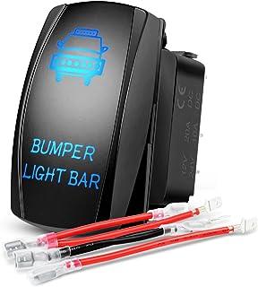 Nilight 90004B Bumper Light Bar Rocker Switch Led light Bar 5 Pin Laser On/Off Switch 20A/12V 10A/24V Switch jumper wires set,2 years Warranty