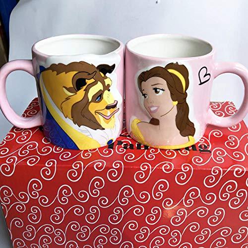 350Ml De Dibujos Animados De La Bella Y La Bestia Taza De Café Cerámica Porcelana Pareja Vasos Tazas Tazas De Café para Regalos del Día De San Valentín Hot-2_350Ml