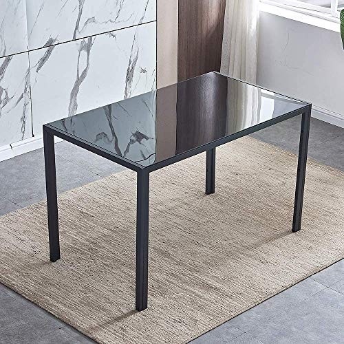 Black Dining Table Rectangular Glass Dining Room Table with Metal Legs for 2-6 People, Modern Simple 120cm Kitchen Table for Dining Guest Reception
