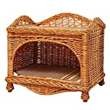 LLNN Rattan Pet Nest Rabbit Cat Bed Cave, Rattan Wicker Cat Bed Handmade Cat Condo for Cats and Small Dogs with Soft Cusions (Color : B)