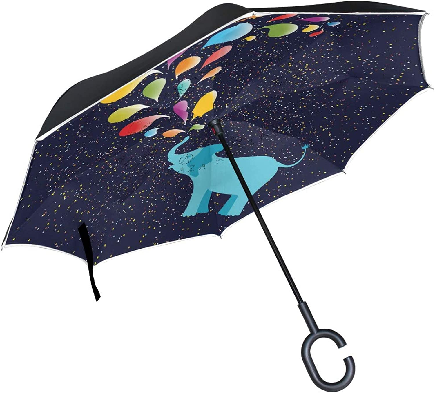 Senya Double Layer Ingreened Umbrellas Llama with Sloth Reverse Folding Umbrella Windproof UV Predection with CShaped Handle for Car Rain Outdoor Travel