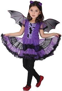 Disfraz Bruja de Halloween para Niñas Cosplay Niña Halloween Vestidos y Sombrero Bruja