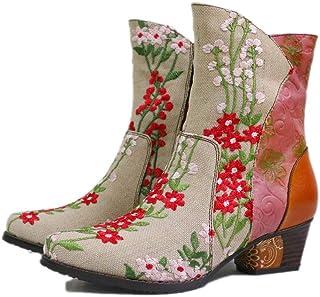 Handmade Stivali da Cowboy di Cuoio Comoda Tallone Spesso delle Donne Vintage Stivali Signore Esterna Antiscivolo Punta Ro...