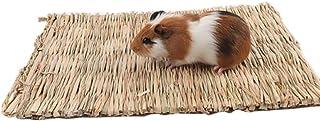 Ofanyia Małe zwierzę żucie zabawka łóżka naturalne ręcznie tkane maty do trawy, bezpieczne i jadalne dla chomików, królikó...