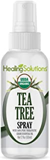 Organic Tea Tree Spray – Water Infused with Tea Tree Essential Oil – Certified USDA Organic - 2oz Bottle by Healing Solutions