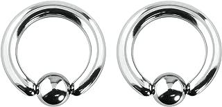 2pcs 12g-0g Large Gauge Size Captive Bead Body Piercing Hoops, Surgical Steel (Select Gauge/Diameter)