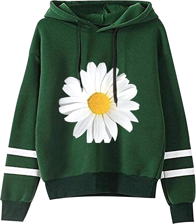 Hoodies for Women Pullover Cute, Women's Casual Daisy Long Sleeve Hoodie Sweatshirt Teen Girls Drawstring Pullover Tops