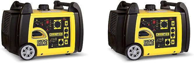 Champion 3100 Watt Portable Wireless Electric Start Inverter Generator (2 Pack)
