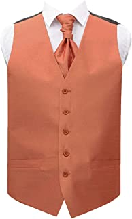 DQT Plain Shantung Wedding Waistcoat Vest & Matching Cravat for Men