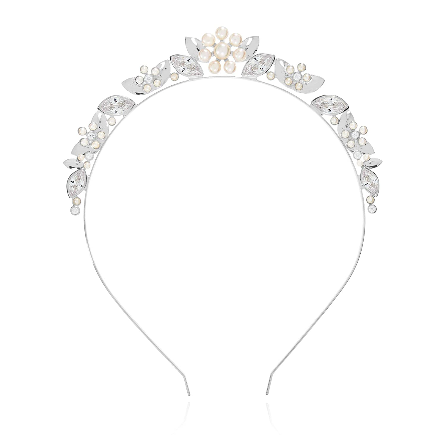 Katie Loxton Happy Ever After Womens Bridal Silver Plated Pearl Bead Flower Tiara Headband