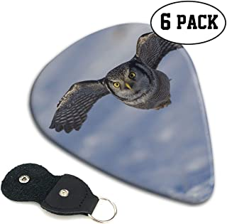 FJSLIE Snown Fat Hawk Owls Guitar Picks Unique 351 Shape Celluloid Guitar Plectrums,6 Packs in Holder Case for Guitar Bass
