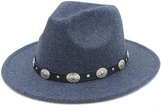 SHENTIANWEI Authentic Fashion Men Women Fedora Hat with Punk Belt Pop Panama Hat Wide Brim Church Hat Fascinator Size 56-58CM