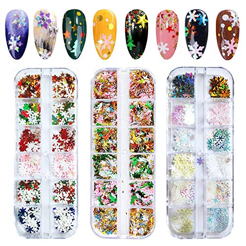 Christmas Nail Art Sequins, EBANKU 3 Boxes Holographic Laser Snowflake Star Nail Glitter Sequins for Acrylic Nails Mixed Shape Xmas Nail Glitter Flakes Decoration