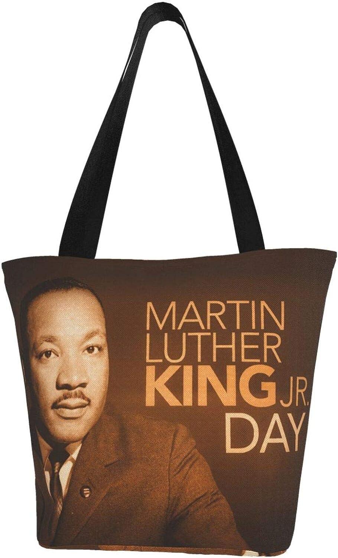 Martin Luther King Day Brown Vintage Themed Printed Women Canvas Handbag Zipper Shoulder Bag Work Booksbag Tote Purse Leisure Hobo Bag For Shopping