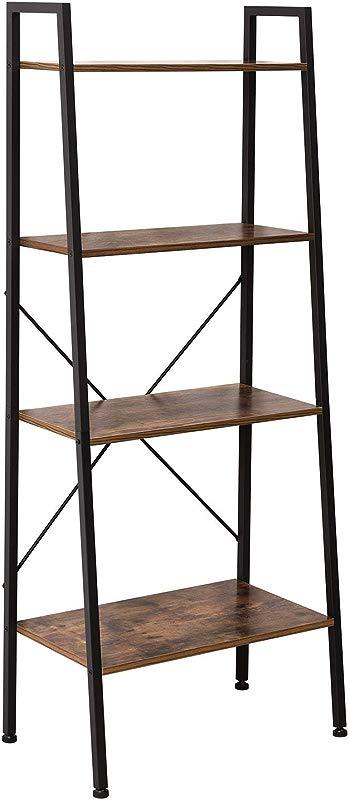 IRONCK Bookshelf 4 Tier Ladder Shelf Storage Shelves Rack Shelf Unit Wood Look Accent Furniture Metal Frame Vintage Home Office Furniture For Bathroom Living Room Rustic Brown