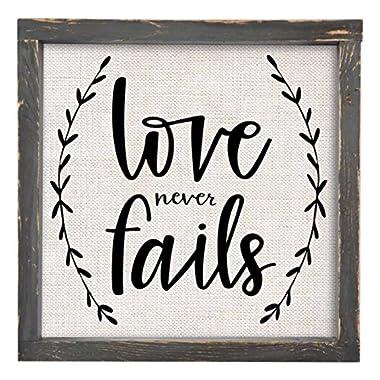 Brownlow Gifts Love Never Fails Framed Linen Sign