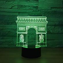 LXXYD 3D Visual Light Optical Illusion Led Night Light - France Arc De Triomphe 3D Night Light Led Colorful Night Light RG...