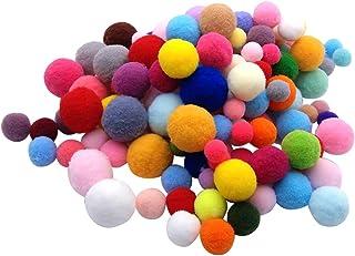 Milisten 160 peças sortidas Pompoms de artes coloridas e artesanatos, bolas fofas para Natal, arte faça você mesmo, decora...