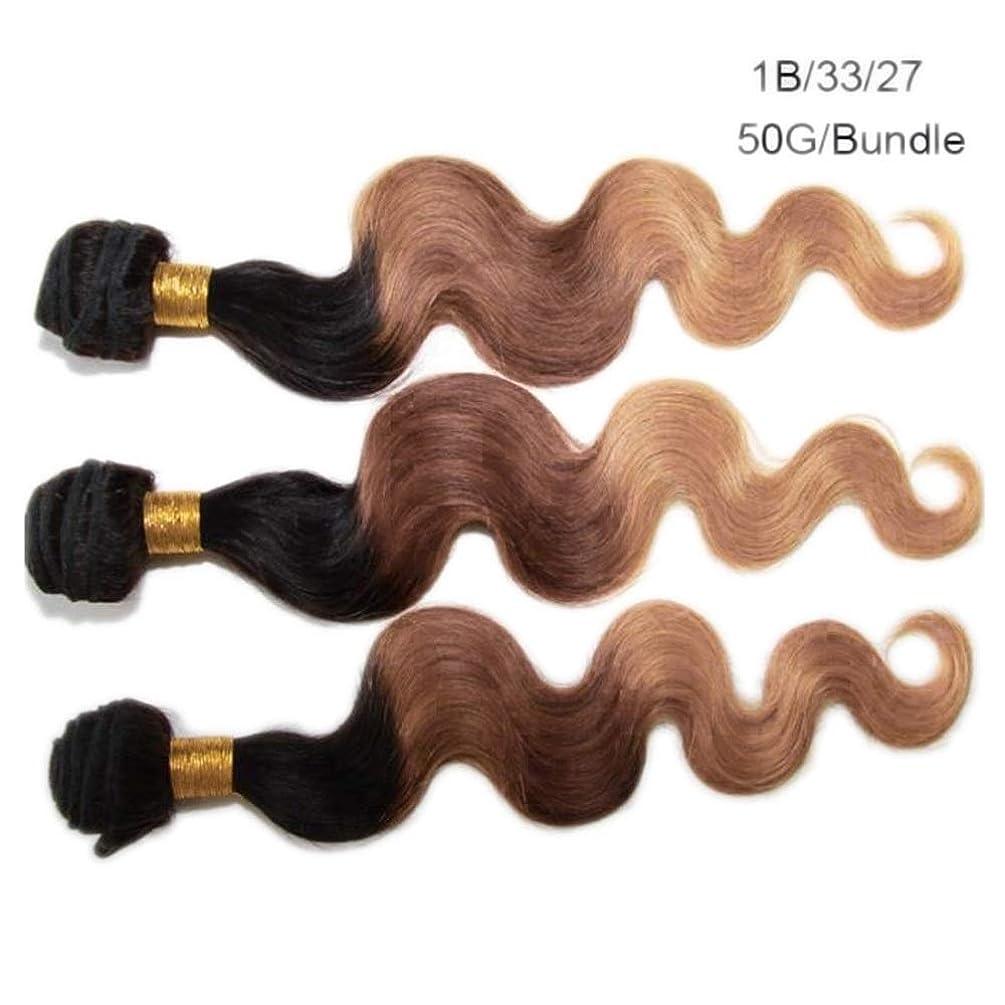 発揮する靄すべきYrattary ブラジル実体波巻き毛100%人毛エクステンション - T1B / 33/27 3トーンカラー(20