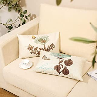 Monkeysell 2PCS Decorative Pillow Covers Leaf Butterfly Flowers Cotton Linen Throw Pillow Case Cushion Cover Home Décor Sofa Decorative Pillow 20x12 Inch (LYSZ)