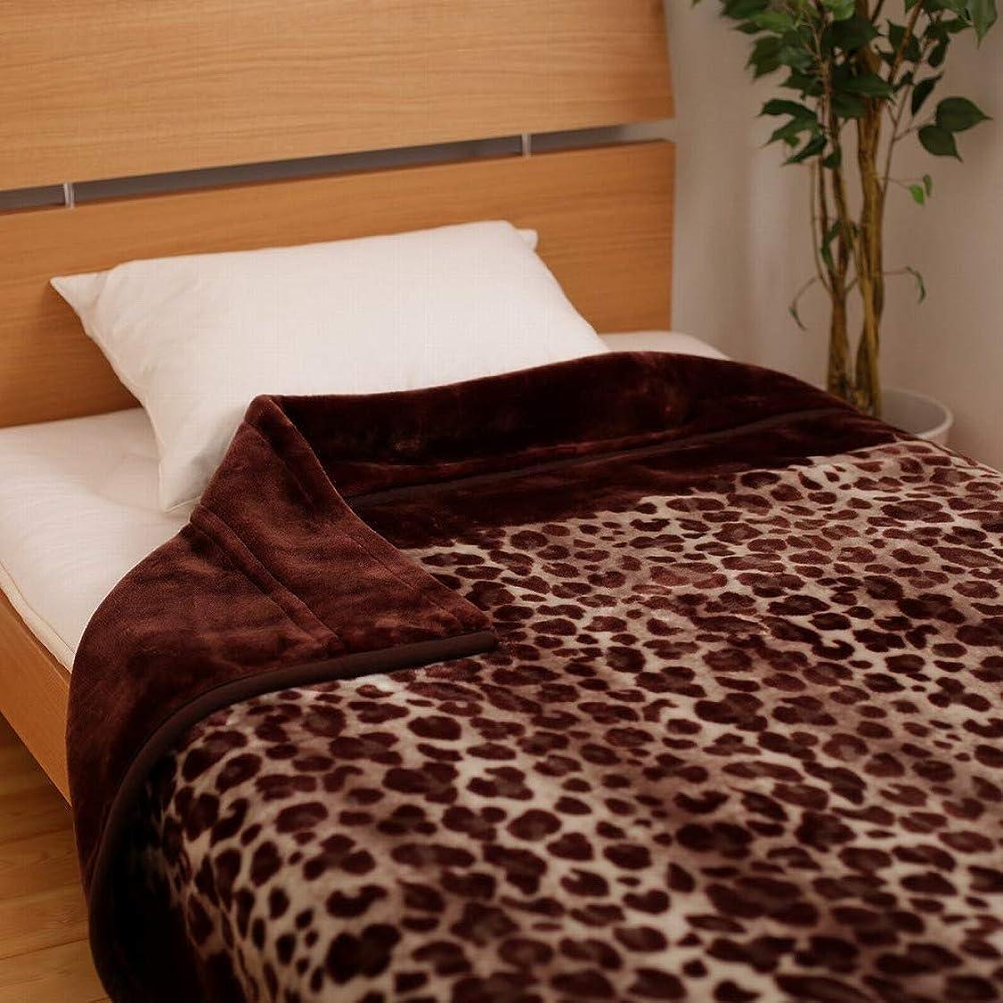 パシフィックミント聞きます昭和西川 2枚合わせ 毛布 レオパード シングル 140×200cm ヒョウ柄 (ブラウン)