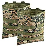ATBP Military 6 Mags Molle Dump Pouch Ammo Shotgun Shell Holder Belt Pouch Tactical Shooting Hunting Game Bag Pack (Digital Woodland Camouflage 12'x10' 2Packs)