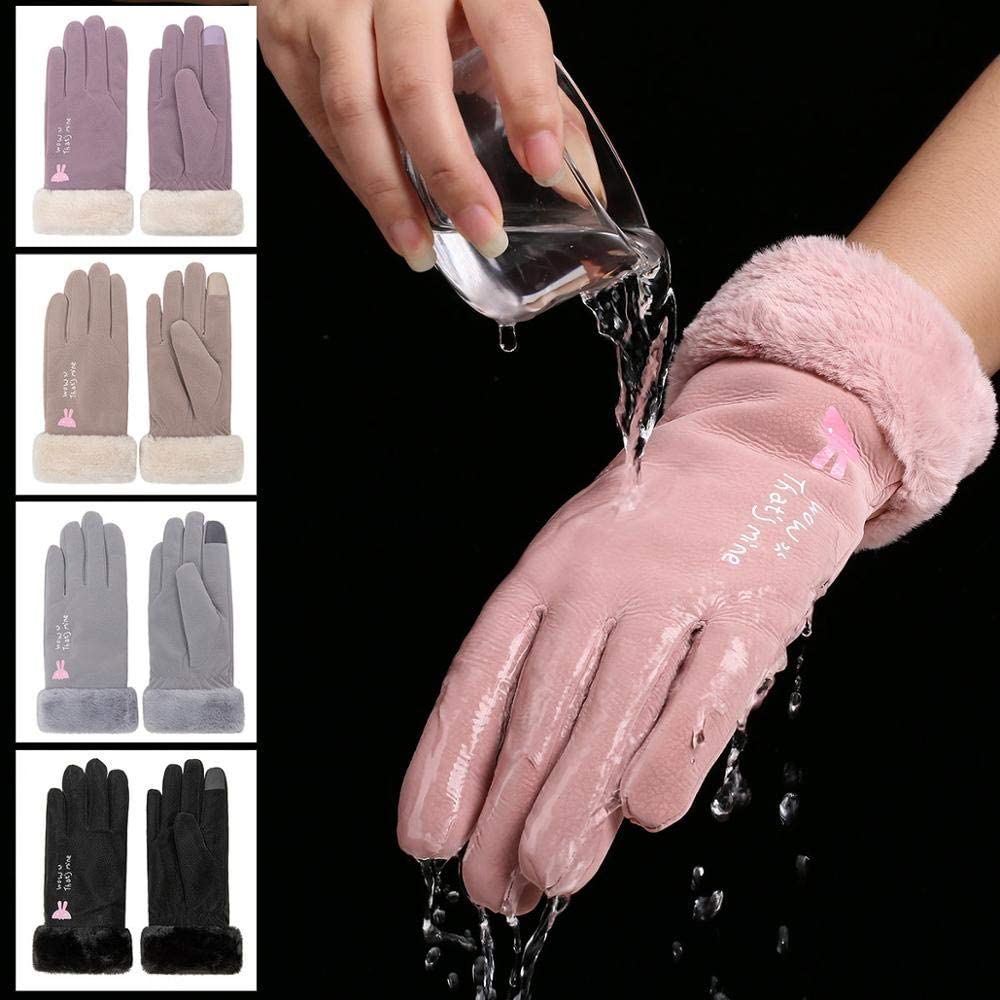 IREANJ Gloves Arrival Winter Gloves Women Touch Screen Waterproof Outdoor Leather Thicken Warm Gloves Female Elastic Mittens (Color : BlackC)
