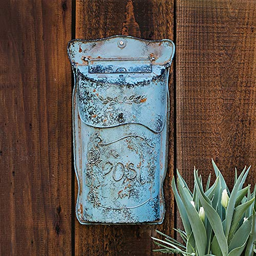 GETZ MSYO Schmiedeeisen Briefkästen, Shabby Chic-Briefkasten aus Metall mit antikem Finish AllChic, Farmhouse Design, Grün/Blau