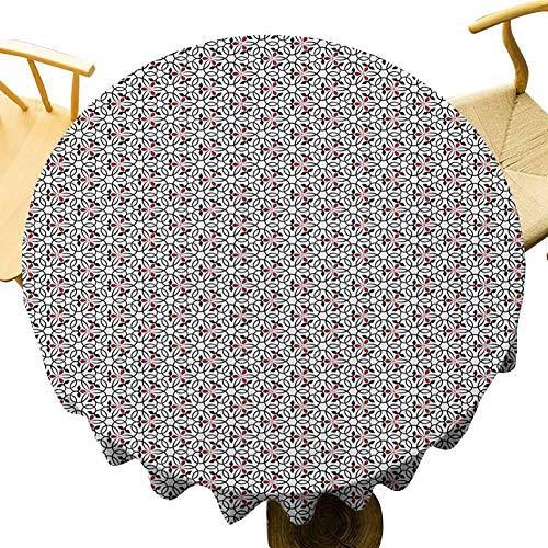 VICWOWONE Mantel rojo y negro – Mantel redondo impreso de 35 pulgadas con forma de corazón abstracto, círculos entrelazados con flores, arreglo geométrico, adecuado para acampar negro rubí