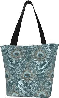 Einkaufstaschen, türkis, Pfauenaugen, Segeltuch, Schultertasche, Einkaufstasche, wiederverwendbar, faltbar, Reisetasche, groß und langlebig, robuste Einkaufstaschen