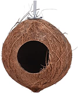 Coconut Bird House Nest Hideaway Bird Cage Accessories Swing Chew Toy for Birds Parrots Budgerigar Macaw Parakeet Cockatoo