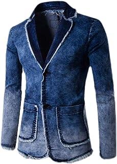 Frieed Mens Notch Lapel Slim Long Sleeve Denim Sport Coat Blazer Jacket