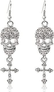 Gothic Jewelry Skull Cross Drops Sparkly Big Chandelier Earrings for Women
