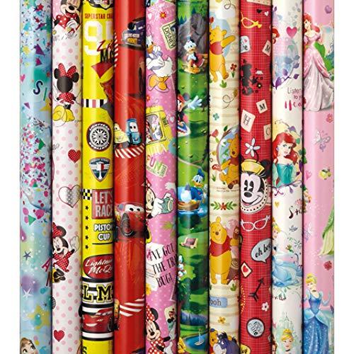 5 Rollen Disney Geschenkpapier je 2 m x 70 cm unterschiedliche Muster