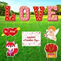 KUUQA 9Pcs Valentines Yard Signs with Stakes, Love Yard Letters Heart Yard Sign Happy Valentine's Day Yard Sign for Indoor Outdoor Valentines Home Lawn Decorations Party Supplies