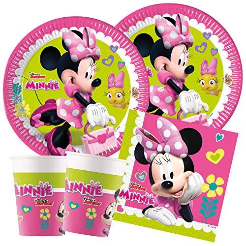 Procos Juego de vajilla para Fiestas Infantiles de Minnie Mouse, Happy Helpers, Platos, Vasos, servilletas, decoración de Mesa, cumpleaños Infantiles, barbacoas, Fiestas temáticas.