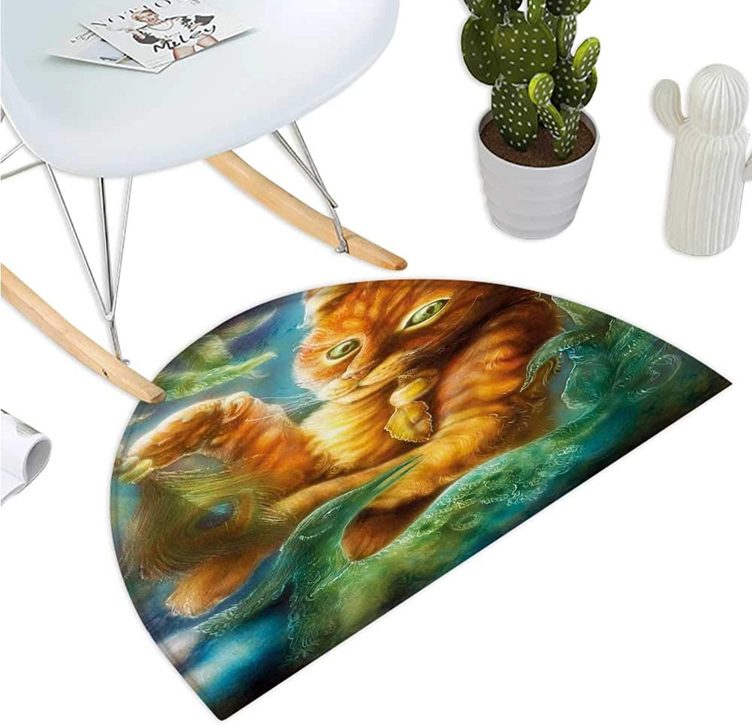 Cats Semicircular Cushion Fantasy Painting Radiant orange Cartoon Cat Peacock Feather Bird Magical Dreamy Entry Door Mat H 43.3  xD 64.9  orange Green bluee