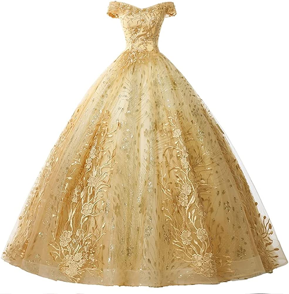 Meowmming Women's Wedding Dress Elegant Off Shoulder Lace Ball Gown Princess Bridal Gowns