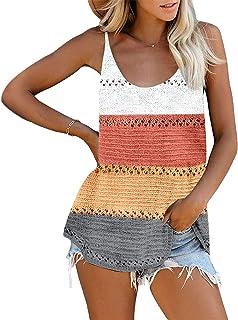 OrientalPort Camisole sexy da donna, lavorato a maglia, senza maniche, con scollo a V, per l'estate