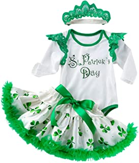 HINK Conjuntos y Conjuntos para niñas, bebés recién Nacidos, niñas, día de San Patricio, Mameluco, Falda, tutú, Diademas, ...