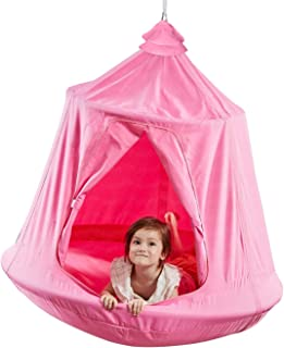 TopEva Waterproof Hanging Tree&Ceiling Hammock Tent Kids Sky Castle Paradise with Led Decoration Lights (Pink)