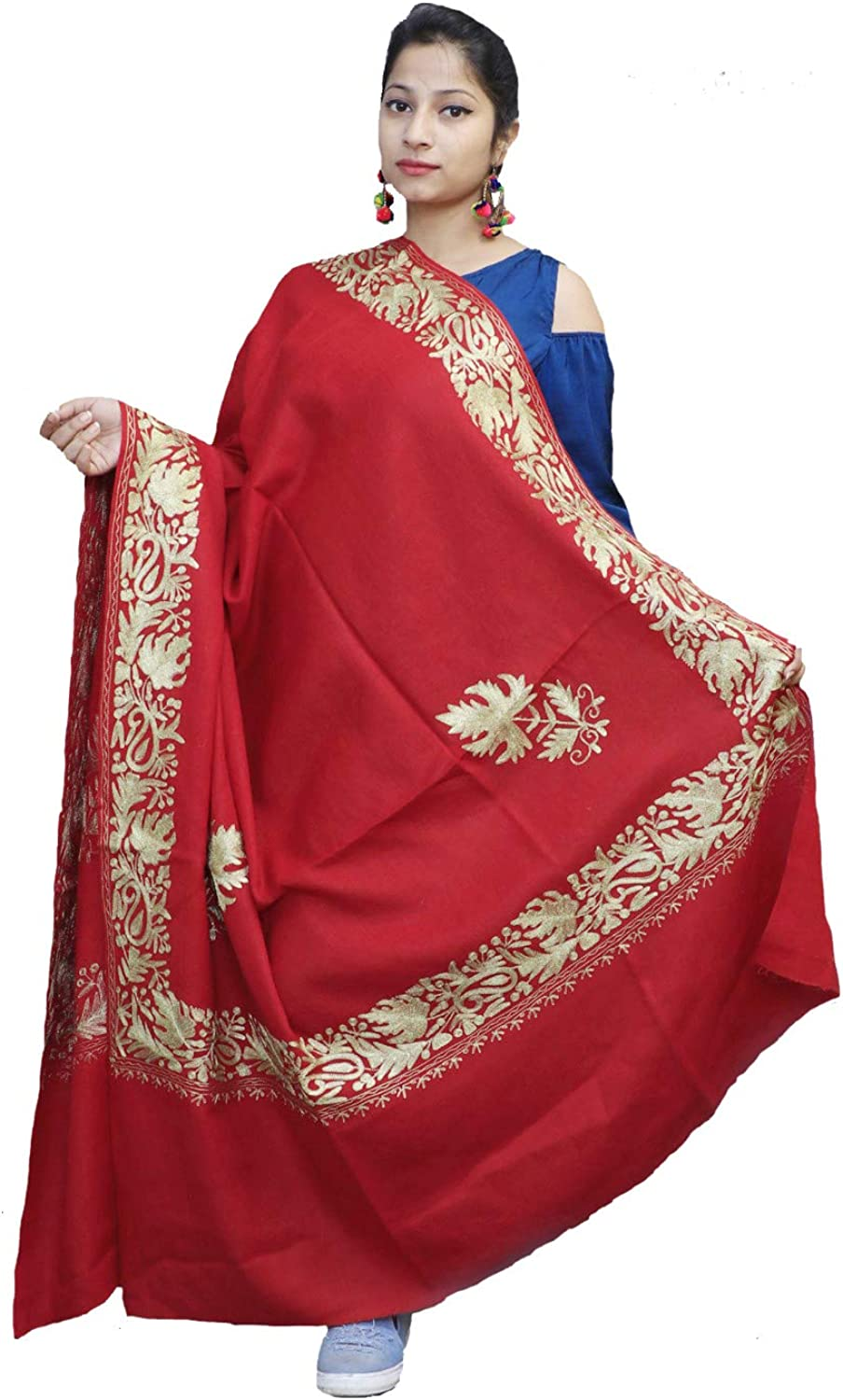 Kashmirvilla Abondon Maroon Semi Pashmina Shawl Enriched With Ethnic Tilla Embroidery With four sided Border