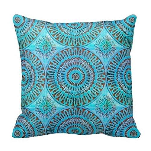 damuyas marroquí Tile Mandela pattern watercolor Funda para cojín manta funda de almohada cuadrado