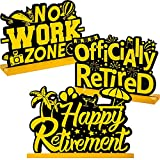 Frienda Retirement Party Decorations Happy Retirement Table Sign Officially Retired Table Centerpiece Black and Gold Sign Wooden Retirement Gifts for Happy Retirement Party Supplies, 3 Pieces